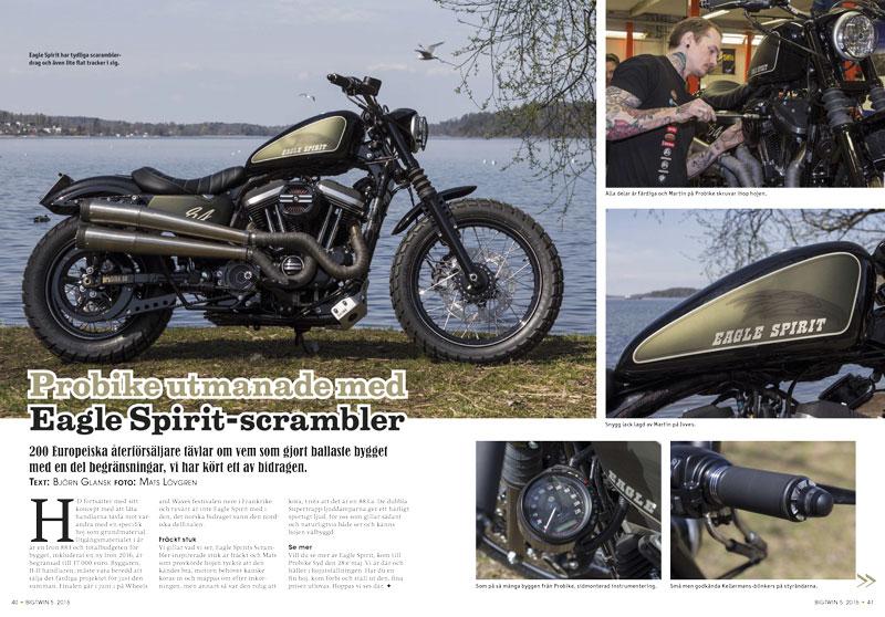 Reportage om Probikes råa Eagle Spirit i BigTwin 5/2016